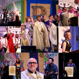 Collage of worship images from General Conference 2019