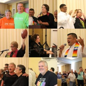 Collage of images of Joy MCC members at General Conference 2019