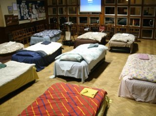 Beds in a shelter