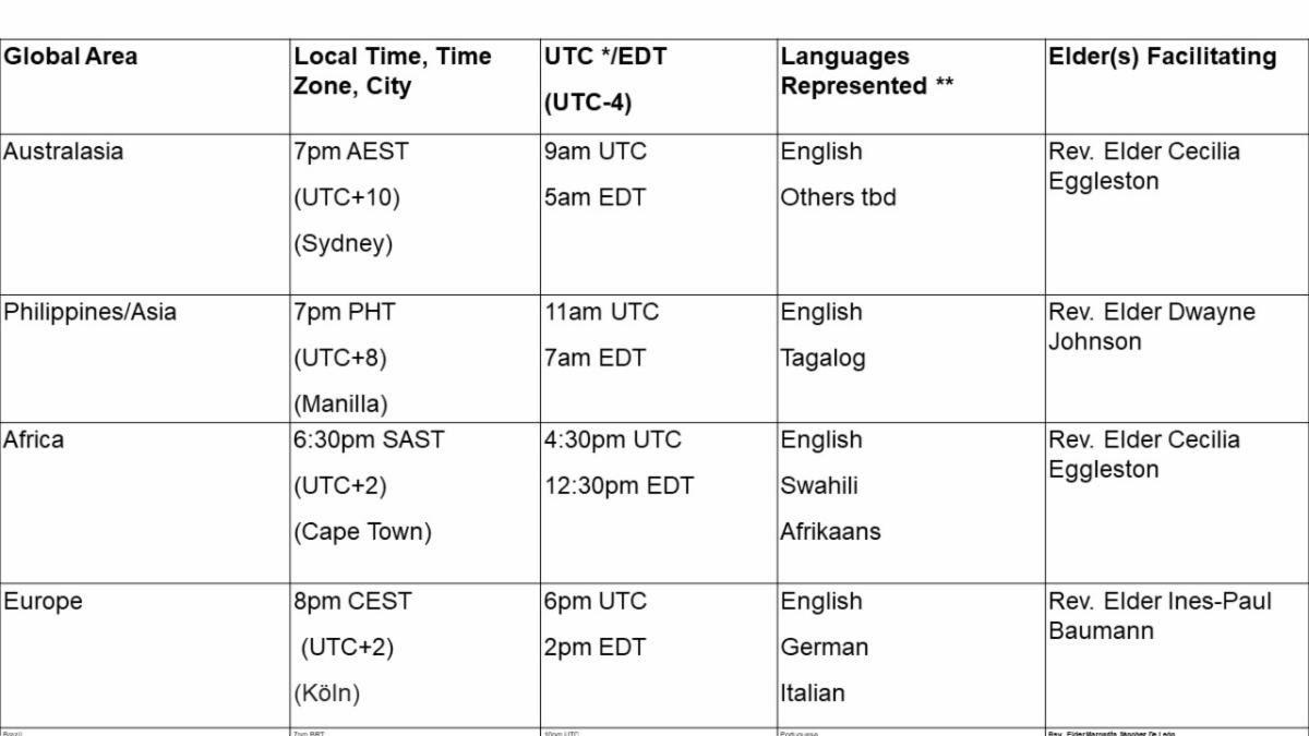 Global Memorial Service Times