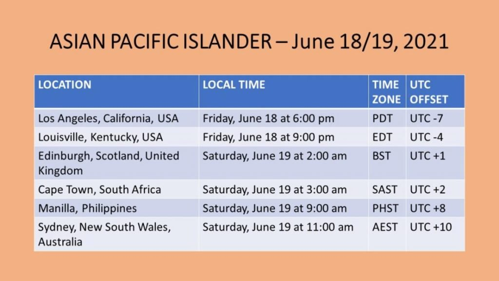 Asian Pacific Islander gathering times
