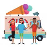 People standing in front of an ice-crean van